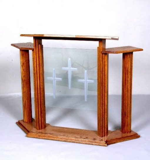 wood and glass pulpit